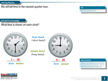 Tell time to the nearest quarter hour