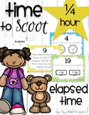 Telling Elapsed Time with a Game of Scoot analog, digital clocks (quarter hour)
