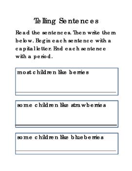 Telling Sentences Capital Period Critical Thinking Literac