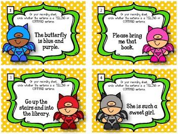 Telling Sentences VS. Command Sentences.  Task Cards. Types of Sentences