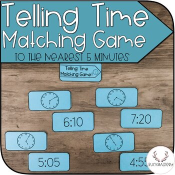 Telling Time Matching Game to the Nearest 5 Minutes