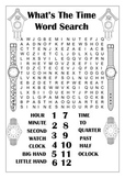 Telling The Time Word Search