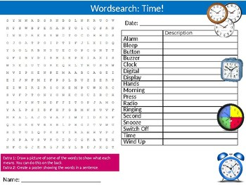 Telling The Time Wordsearch Puzzle Sheet Keywords Clocks Numbers Math