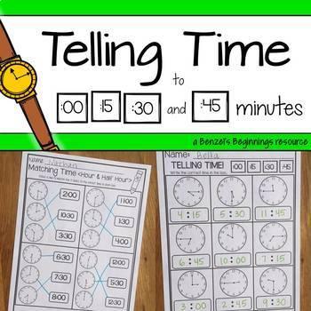Telling Time (:00, :15, :30, :45) NO PREP Printables