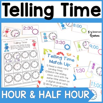 1.MD.3 Telling Time Math Center