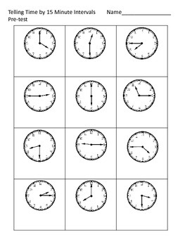 Telling Time--15 Minute and 5 Minute Intervals