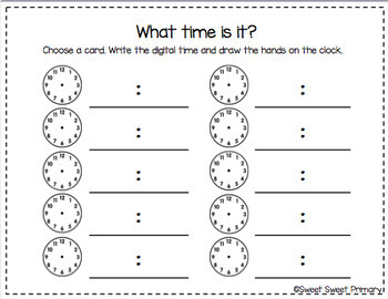 Telling Time Matching Cards