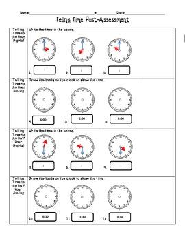 telling time 1st grade assessment by elissa mcclain tpt. Black Bedroom Furniture Sets. Home Design Ideas