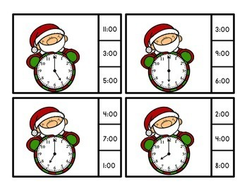 December Activities - Time to the Half Hour Clip Cards