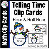 #turkeydeals Time To The Half Hour Telling Time Clip Cards - Snowman Theme