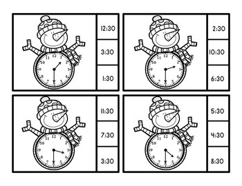Time To The Half Hour Telling Time Clip Cards - Snowman Theme
