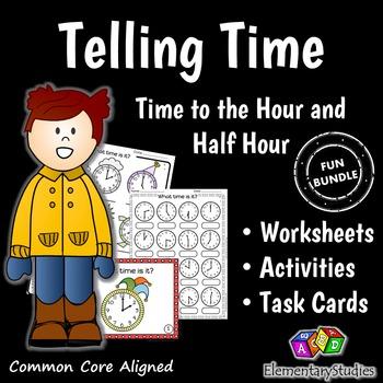 Telling Time Worksheets and Task Cards Bundle