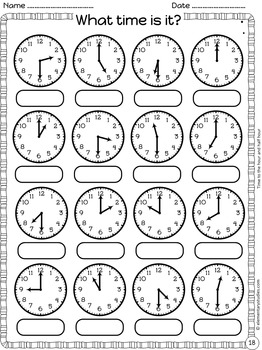 Telling Time Worksheets and Task Cards Bundle