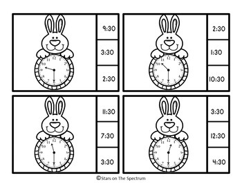 Easter Bunny Telling Time To The Half Hour Clip Cards