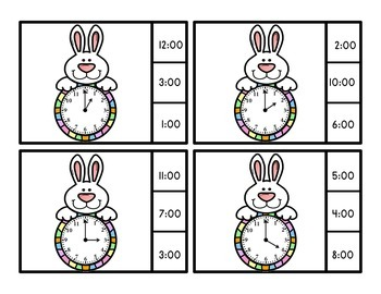 Easter Activities Easter Bunny Telling Time To The Half Hour Clip Cards