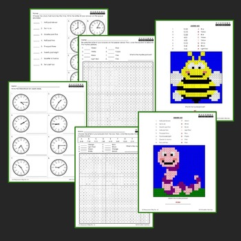 Telling Time To the Minute Coloring Worksheets, Mystery Pictures
