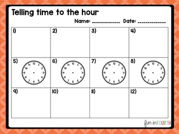 Telling Time: Time to the Hour Task Cards with and without QR Codes