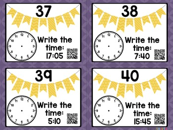 Telling Time: 24 Hour Time Task Cards with and without QR Codes