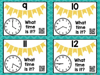 Telling Time: 5 Minute Intervals Task Cards with and without QR Codes