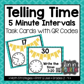 Telling Time: 5 Minute Intervals Task Cards with and witho