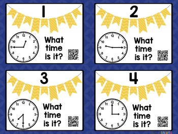 Telling Time: Quarter To, Half Past, Quarter After Task Cards with QR Codes