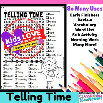 Telling Time Activity: Telling Time Vocabulary: Telling Time Word Search