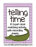 Telling Time 3 Part Match Math Center