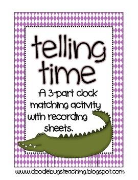 Telling Time 3 Part Match Math Center