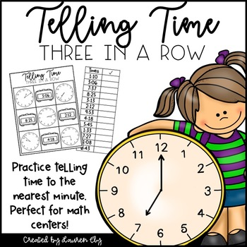 Telling Time 3 in a Row - 2nd Grade Math Game