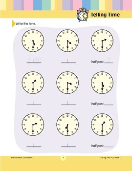 Write the Time (Half-hour)