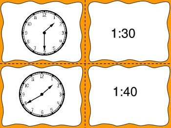 Telling Time 5 Minute Intervals---3 Sets of Task Cards--Fall Theme