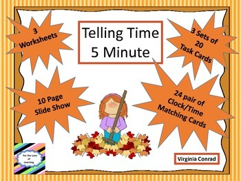 Telling Time 5 Minute Intervals---3 Sets of Task Cards--Fa