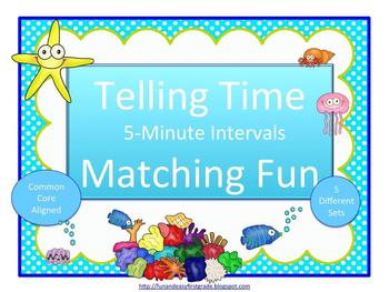 Telling Time 5 Minute Intervals Matching Fun (Common Core Aligned)
