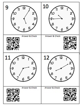 Telling Time - 5 Minute Intervals - QR Code -Task Cards