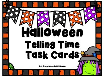 Telling Time (5 minutes, AM and PM, Halloween Theme)
