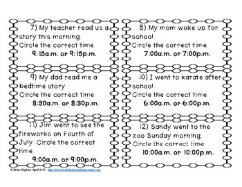 Telling Time A.M. Or P.M. Task Cards
