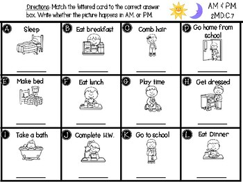 Telling Time: AM and PM center - GO MATH! Chapter 7