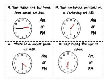 telling time am pm common core task cards sorting activity and assessment. Black Bedroom Furniture Sets. Home Design Ideas