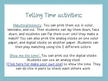 Telling Time Activities! Matching, scoot, and more!