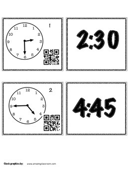Telling Time Activities  - Puzzles with QR Codes and Scoot