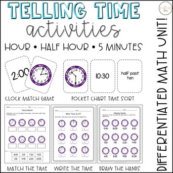 Time to the Hour, Half Hour, and 5 Minute:  Games, Sorts, and Worksheets
