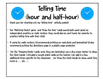 Telling Time Activities (hour and half hour)