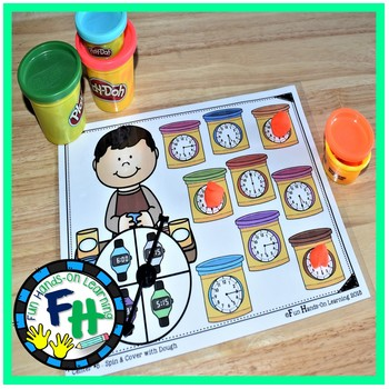 Telling Time Activity Center {Spin & Cover with Dough}