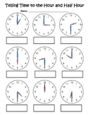 Telling Time Activity Page (hour & half hour)