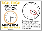 Telling Time Adapted Book - To the Half Hour
