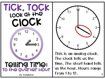 Telling Time Adapted Book - To the Quarter Hour
