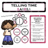 Telling Time Analog Clock Labels {2 Designs in 1!} - Back-to-School Decor