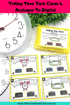 Telling Time Analogue & Digital Task Cards {o'clock & half past}