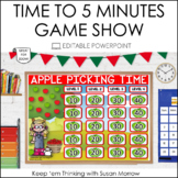 TELLING TIME GAME SHOW: TELLING TIME TO 5 MINUTES EDITABLE