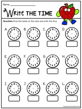 Telling Time Around the Room: Apples